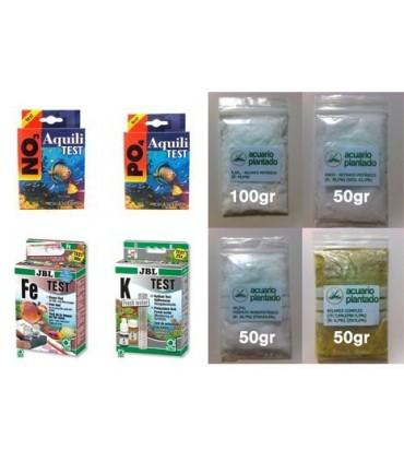 Kit 4 test + 4 abonos acuario plantado